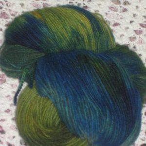 Merino Possum Green and Blue heavy 4 ply 100g Hand dyed